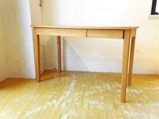 無印良品 MUJI タモ材 パーソナルデスク ワークテーブル W110 引出し付 フック付 ナチュラル シンプル ★