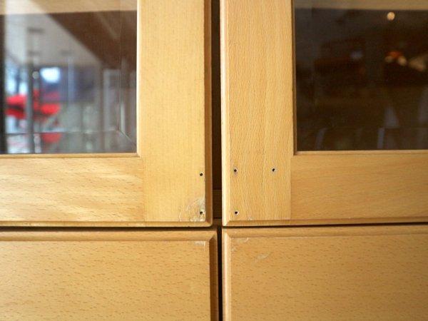 日進木工 NISSIN カップボード キャビネット 食器棚 ビーチ材 ガラス扉 ナチュラル 定価約20万円 飛騨家具 ◎