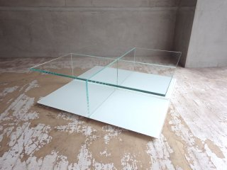 カッシーナ Cassina メックス MEX ローテーブル ガラステーブル 269-01/11 スクエアタイプ ホワイト ピエロリッソーニ 定価¥192,000- ♪