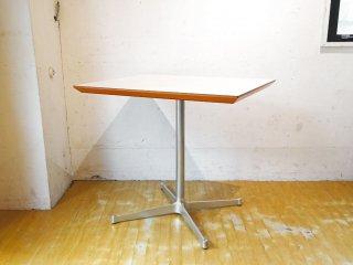 ディーアンドデパートメント D&DEPARTMENT カフェテーブル Cafe Table ホワイトメラミン天板 クロームメッキ X脚 ミッドセンチュリー ★