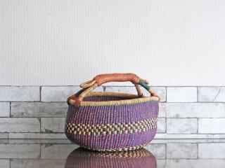 アフリカ ブルキナファソ ボルガバスケット バスケット 籠 手編み 1ハンドル 本革 ●