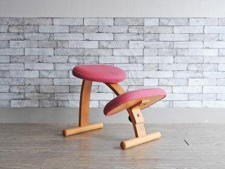 リボ Rybo バランスイージー balans Easy バランスチェア ピンク カバー付き 学習椅子 姿勢矯正 ●