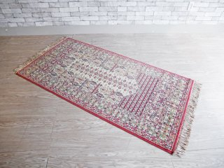 アフガニスタン絨毯 トラディショナル カーペット ラグ トライバル柄 ウール100% 手織り 92×180cm ●
