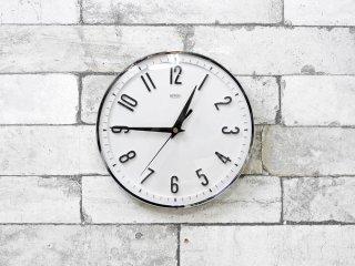 メタメック METAMEC ウォールクロック 壁掛け時計 シルバーカラーフレーム モノトーン クオーツ Φ20cm イギリス UKビンテージ 英国雑貨 ●