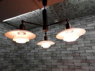 ルイスポールセン louis poulsen ペンダントランプ 3灯 シャンデリア PH2/1 Stem Fitting 2004年 真鍮バーニッシュ 古色 稀少 日本限定100個 ●