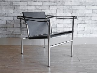ル・コルビュジェ Le Corbusier LC1 スリングチェア ブラックレザー リプロダクト品 A ●