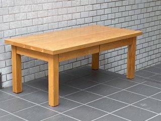 無印良品 MUJI 木製ローテーブル オーク無垢材 ナチュラル 抽斗2杯 シンプルデザイン ■