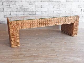リゾートスタイル ガラス天板 ラタン ローテーブル ベンチ 籐製 ナチュラル ●