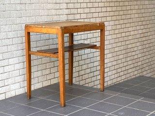 ジャパンビンテージ 昭和レトロ 木味 サイドテーブル 飾り棚 花台 和家具 木味 古家具 ■