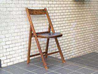 ビンテージ 木味 フォールディングチェア 折り畳み椅子 木味 古家具 ■