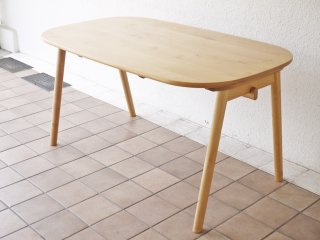 ケユカ KEYUKA ヨナス アルダー無垢材 ダイニングテーブル 幅140cm ナチュラルウッド ラウンド 定価\76,780-   ◇