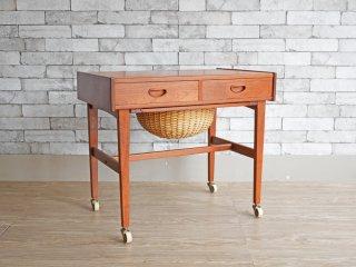 デンマーク ビンテージ Danish Vintage ソーイングテーブル サイドテーブル キャスターワゴン チーク材 北欧家具 ●