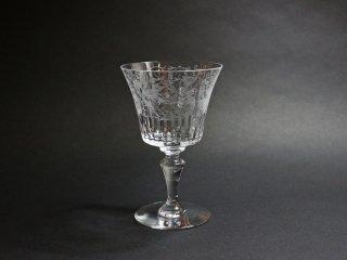 バカラ Baccarat パルメ ワイングラス カットグラス エッチング 鳥紋様 クリスタルガラス フランス 定価¥33,000- A ◎