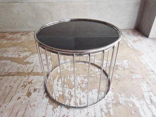 モダンデザイン Modern Design スモークガラス × スチール ラウンド ローテーブル サイドテーブル Φ60cm ♪