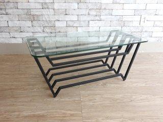 ウニコ unico バック VAC リビングテーブル ローテーブル Sサイズ ガラス×スチール ブラック 廃番 ●