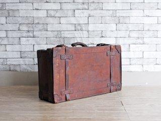 ビンテージ Vintage レザートランクケース スーツケース 本革 ブラウン 収納 ディスプレイ 店舗什器 現状品 ●