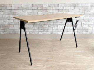ジャーナルスタンダードファニチャー journal standard Furniture コンパスレッグデスク W120 ナチュラル コンセント付き ASKUL取扱 定価¥16,390- ●