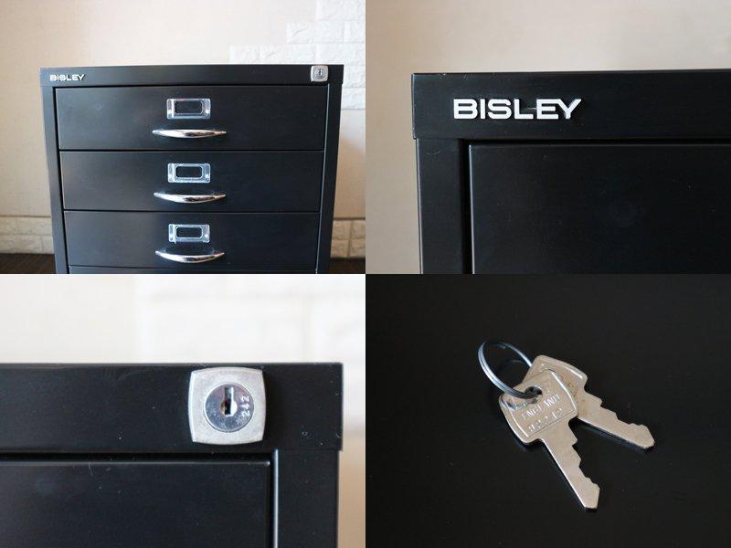 ビスレー BISLEY ベーシック BASIC Fシリーズ 1F3 ファイリングキャビネット ブラック 抽斗4杯 鍵付き ベース欠品 オフィス家具 英国 ◎