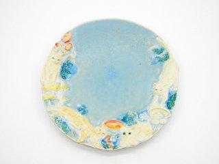 うつわやみたす 6寸皿 ねこ きのこ Φ18cm プレート 小皿 ハンドメイド 現代作家 A ●