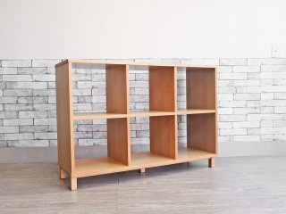 無印良品 MUJI 2段3列 タモ材 オープンシェルフ 木製ラック 飾り棚 ナチュラル シンプルデザイン ●