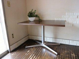 ミッドセンチュリースタイル カフェテーブル 長方形 木製天板 × Xレッグ クロムメッキ スチール脚 ダークブラウン ◎