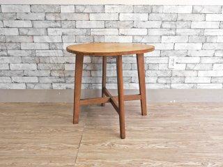 ジャパンビンテージ Japan Vintage サイドテーブル ラウンドテーブル 飾り台 ナラ材 ナチュラル 木味 昭和レトロ ●
