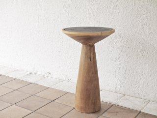 アジアンスタイル ファニチャー Asian style furniture 無垢材 キノコ型 サイドテーブル ハイスツール ブラック×ナチュラル ◇
