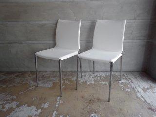 ザノッタ Zanotta リアチェア Lia Chair ダイニングチェア 2脚セット カバー付き 布張り ホワイト ロベルト・バルビエリ イタリア ♪