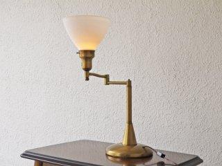 USビンテージ 真鍮 ミルクガラス デスクライト アッパーライト スゥイングアーム Cerote Antiques取扱 米国 ◇