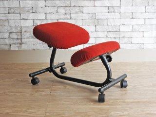 ホーグ HAG バランスチェア Balans 5015 キャスター付き 学習椅子 レッド 北欧 ノルウェー 現状品 ●