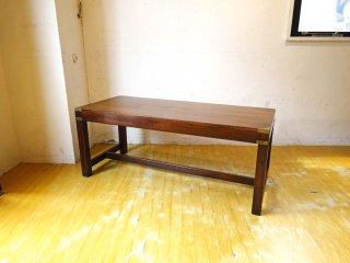 USビンテージ クラシックデザイン ベンチ テーブル ダークブラウン ゴールドプレートアクセント ★