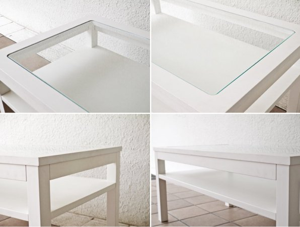 モモナチュラル Momo Natural シエル CIELE ローテーブル センターテーブル ガラス パイン材 ホワイト ◇