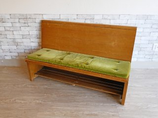 USビンテージ US Vintage チャーチベンチ 教会椅子 長椅子 3人掛け 木味 モケット生地 クッション 聖書ボックス付 B ●