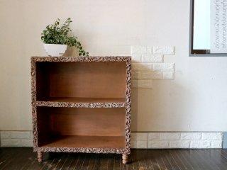 US ビンテージ シェルフ 彫刻 木彫り 2段 棚 ディスプレイラック キャビネット Cerote Antiques 取扱い ◎