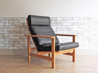 フレデリシア FREDERICIA イージーチェア Easy chair 2461 ソーレン・ホルスト  Soren Holst オーク無垢材 レザー ブラック ハイバック リクライニングチェア ●