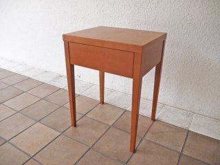 シンプルデザイン チェリー材 ナイトテーブル サイドテーブル 1ドロワー スモールサイドチェスト 幅40cm ◇
