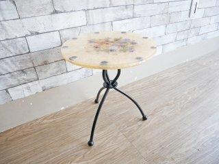 樹脂天板 サイドテーブル 花台 ラウンド Φ33cm クラシカルデザイン ●