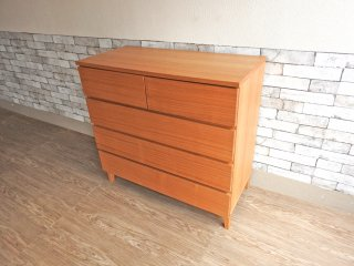 無印良品 MUJI 木製チェスト 4段 タモ材 フルオープン シンプルモダンデザイン ナチュラル 廃番 ●
