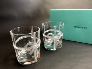 ティファニー Tiffany & Co. ボウ グラス 2客セット ペアグラス タンブラー リボン 未使用 箱付 ◎