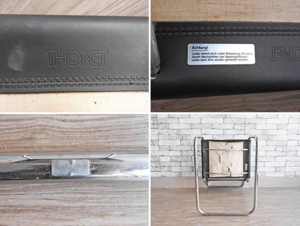 トーネット THONET S33 サイドチェア ブラックレザー ダイニングチェア バウハウス BAUHAUS マルト・スタム Mart Stam モダンデザイン 定価188,100円 D ●