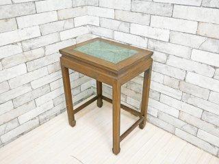 中国家具 サイドテーブル 大理石天板 W42.5cm 花台 飾り台 ビンテージスタイル ●