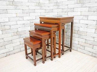 中国家具 ネストテーブル サイドテーブル 入れ子式 4台セット 花台 飾り台 ビンテージスタイル ●