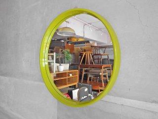 スペースエイジ 壁掛け ラウンド ウォールミラー 鏡 グリーン レトロポップ ♪