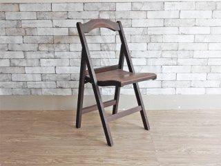 フランスアンティーク French Antique 木製 フォールディングチェア ガーデンチェア 折り畳み椅子 木味 ●