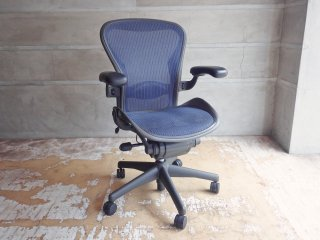 ハーマンミラー Herman Miller アーロンチェア Aeron Chair ランバーサポート クラシックカーボン フル装備 Bサイズ グラファイトカラーベース ブルー デスクチェア B ♪