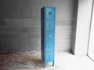 リオン LYON スチールロッカー ルーバーカット 5段 5-TIER LOCKER-LOUVER 青緑カラー light teal P.F.S取扱 ♪