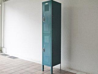 リオン LYON スチールロッカー ルーバーカット 2段 2-TIER LOCKER-LOUVER light teal 青緑カラー P.F.S取扱 ◇