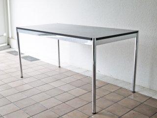 USMハラー USM Haller モジュラーファニチャー Modular Furniture ハラーテーブル 幅150cm 高さ調整 ブラックウッド天板 ◇