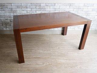 IDC大塚家具購入 木製ダイニングテーブル ダークブラウン モダンデザイン W150cm ●