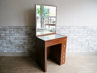 モダンデザイン ドレッサー デスク 鏡台 ガラス天板 鏡面角度調整可 ●